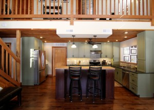 green-kitchen-with-loft-south-falls-construction